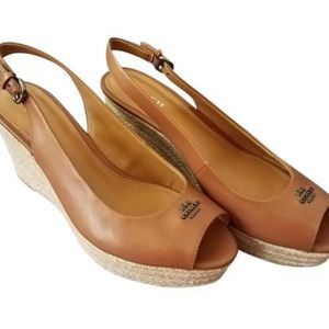 Coach Ferry saddle brown wedges 9.5
